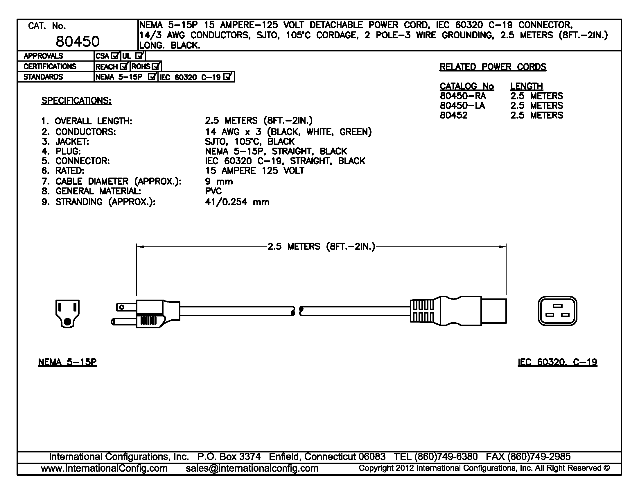 80450 - Straight C-19 Connector