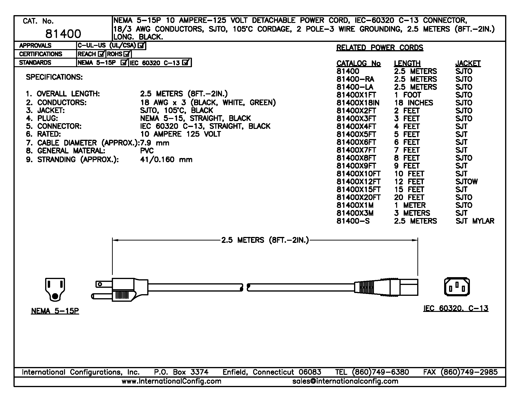 81400 - Straight C-13 Connector